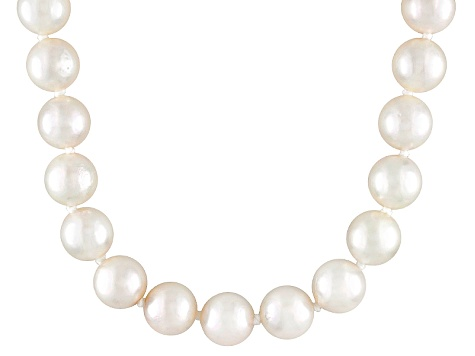 7.5 To 8mm White Cultured Akoya Pearl 14k Yellow Gold 20 inch Necklace