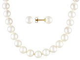 6.5 To 7mm White Cultured Akoya Pearl 14k Yg 20 inch Necklace & Stud Earring Jewelry Set
