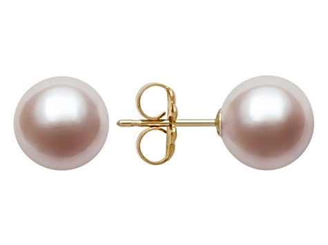 Pink Cultured Freshwater Pearl 14k Yellow Gold Stud Earrings 8-9mm