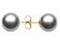 Gray Cultured Freshwater Pearl 14k Yellow Gold Stud Earrings 9-10mm