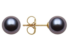 Black Cultured Freshwater Pearl 14k Yellow Gold Stud Earrings 6-7mm