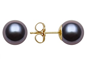 Black Cultured Freshwater Pearl 14k Yellow Gold Stud Earrings 8-9mm