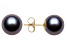 Black Cultured Freshwater Pearl 14k Yellow Gold Stud Earrings 9-10mm