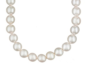 White Cultured Akoya Pearl 14k Yellow Gold Strand Necklace 16 inch