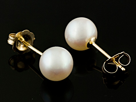 Round White Cultured Akoya Pearl 14k Yellow Gold Stud Earrings