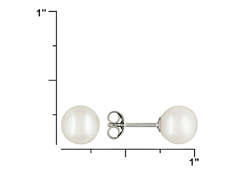 White Cultured Freshwater Pearl Rhodium Over Silver Stud Earrings