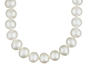 White Cultured Freshwater Pearl Rhodium Over Silver Strand Necklace 24 inch
