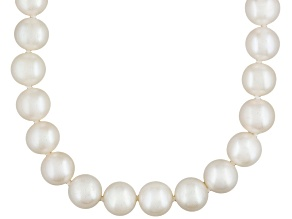 White Cultured Freshwater Pearl Rhodium Over Silver Strand Necklace 32 inch
