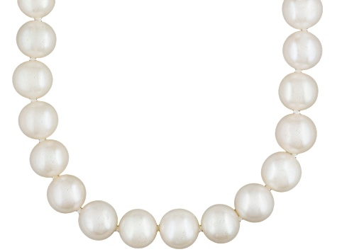 White Cultured Freshwater Pearl Rhodium Over Silver Strand Necklace 16 inch