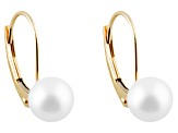 White Cultured Freshwater Pearl 14k Yellow Gold Dangle Earrings