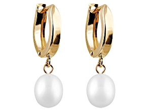 Drop Cultured Freshwater Pearl 14k Yellow Gold Dangle Earrings