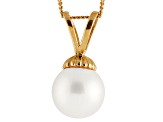 Cultured Freshwater Pearl 14k Yellow Gold Pendant With Chain 18 inch