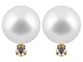 White Cultured Freshwater Pearl Diamond Accent 14k Yellow Gold Earrings