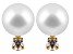 Cultured Freshwater Pearl .1ctw Diamond 14k Yellow Gold Stud Earrings