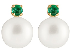 Cultured Freshwater Pearl .1ctw Emerald 14k Yellow Gold Stud Earrings