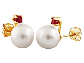 Cultured Freshwater Pearl .1ctw Ruby 14k Yellow Gold Stud Earrings