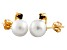 Cultured Freshwater Pearl .1ctw Sapphire 14k Yellow Gold Stud Earrings