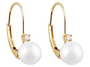 Cultured Freshwater Pearl .06ctw Diamond 14k Yellow Gold Dangle Earrings