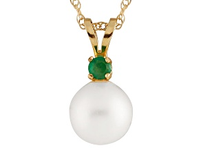 Cultured Freshwater Pearl .05ctw Emerald 14k Yellow Gold Pendant With Chain