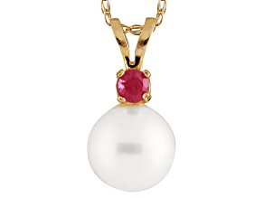 Cultured Freshwater Pearl .05ctw Ruby 14k Yellow Gold Pendant With Chain
