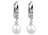 Cultured Freshwater Pearl .24ctw Cubic Zirconia Rhodium Over Silver Earrings