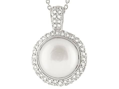 Cultured Freshwater Pearl .34ctw Cubic Zirconia Rhodium Over Silver Pendant