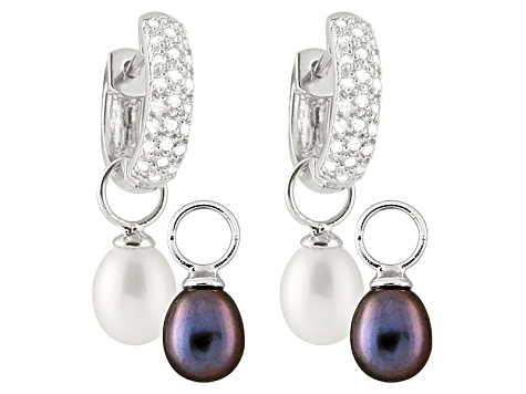 Cultured Freshwater Pearl 48ctw Cubi Zirconia Interchangeable Earrings