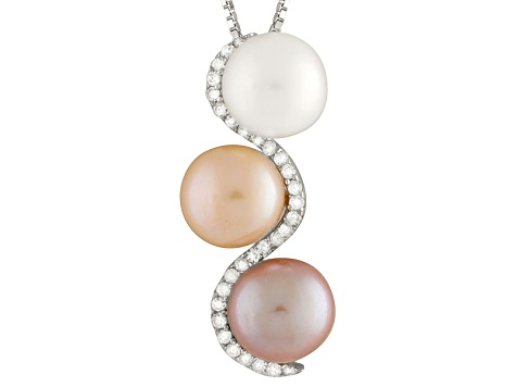 Cultured Freshwater Pearl .23ctw Cubic Zirconia Rhodium Over Silver Pendant
