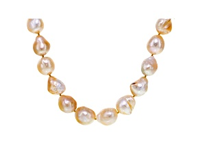 Baroque Golden Cultured South Sea Pearl 14k Gold Strand Necklace
