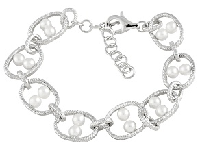 White Cultured Freshwater Pearl Sterling Silver Link Bracelet