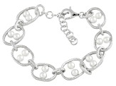 White Cultured Freshwater Pearl Sterling Silver Link Bracelet