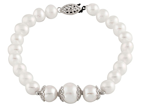 White Cultured Freshwater Pearl Sterling Silver Bracelet