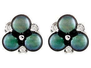 Enhanced Black Cultured Freshwater Pearl, Diamond Simulant, Silver Earring