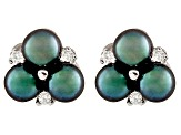 Enhanced Black Cultured Freshwater Pearl, Diamond Simulant, Silver Earring