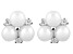 White Cultured Freshwater Pearl, Diamond Simulant Silver Earring