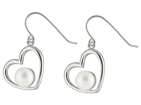 White Cultured Freshwater Pearl Rhodium Over Silver Heart Dangle Earring