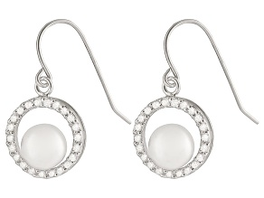 White Cultured Freshwater Pearl Rhodium Over Sterling Silver Earring