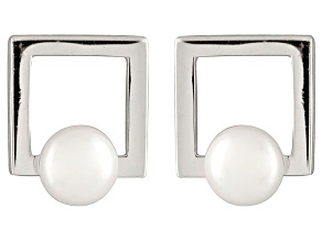 White Cultured Freshwater Pearl Rhodium Over Silver Geometric Earring
