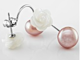 Pink Cultured Freshwater Pearl, White Mother Of Pearl Silver Earring