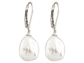Baroque White Cultured Freshwater Pearl Rhodium Over Silver Earring