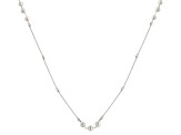White Cultured Freshwater Pearl, Diamond Simulant Station Necklace 36 inch