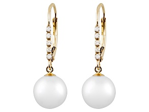 White Cultured Freshwater Pearl, Diamond 14k Gold Leverback Earring