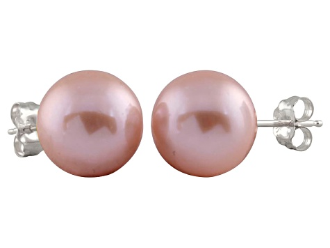9-9.5mm Purple Cultured Freshwater Pearl 14k White Gold Stud Earrings
