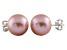 9-9.5mm Purple Cultured Freshwater Pearl 14k White Gold Stud Earrings