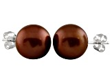 9-9.5mm Chocolate Cultured Freshwater Pearl Sterling Silver Stud Earrings