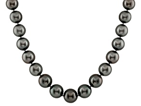 11-14mm Black Cultured Tahitian Pearl 14k White Gold Strand Necklace 18 inches
