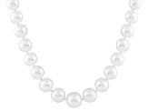 10-13mm White Cultured Australian South Sea Pearl 14k White Gold Strand Necklace 18 inches