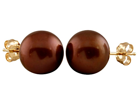 9-9.5mm Chocolate Cultured Freshwater Pearl 14k Yellow Gold Stud Earrings