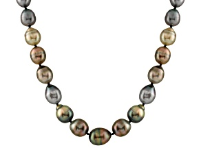9-12mm Black Baroque Cultured Tahitian Pearl 14k Yellow Gold Strand Necklace