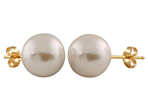 9-9.5mm White Cultured Freshwater Pearl 14k Yellow Gold Stud Earrings